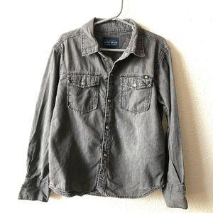 Lucky Brand Boys Grey Button Down Shirt Sz 6